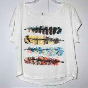 Feather Graphic Dolman Sleeve Top With Sequins
